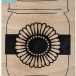Mason jar daisy wood and rubber stamp