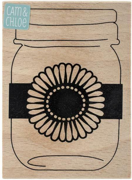 Mason jar daisy wood and rubber stamp