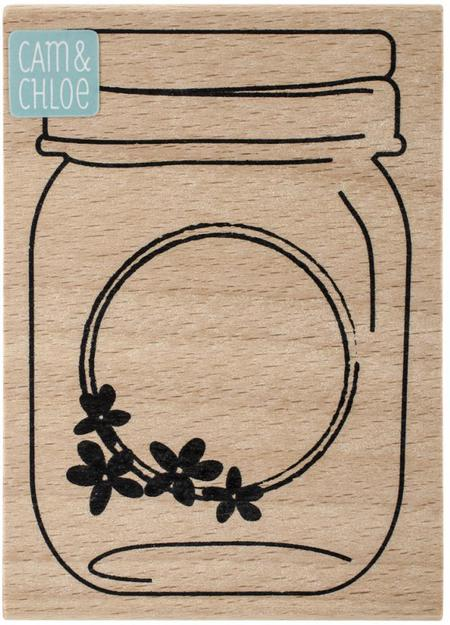 Mason jar flower label wood and rubber stamp