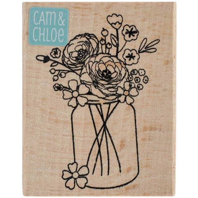 Mason jar with flowers wood and rubber stamp