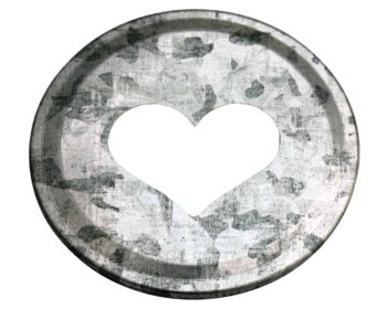 Galvanized heart cutout lid insert for regular mouth Mason jars
