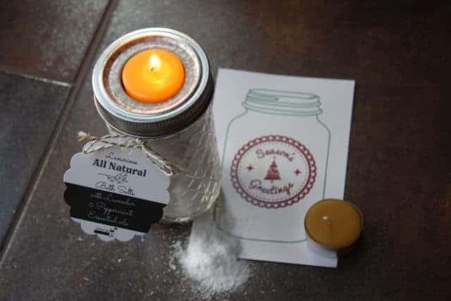 Mason Jar Lifestyle bath salt and tea light gift set