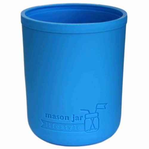 Bright blue silicone sleeve koozie for wide mouth pint 16oz Mason jars