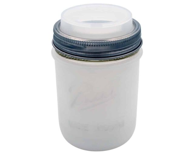 Mason Jar Lifestyle frost silicone sleeve / jacket and wide mouth drinking lid on Ball wide mouth pint 16oz jar