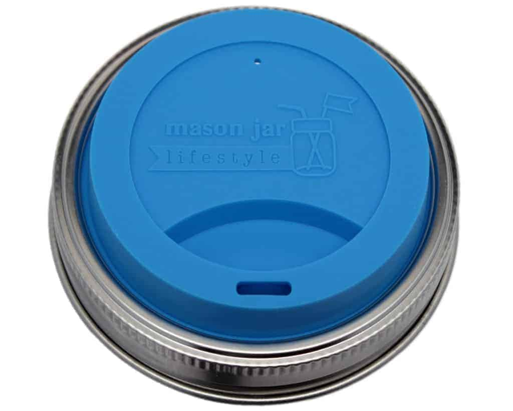 Bright blue silicone drinking / sipping lid with stainless steel band for wide mouth Mason jars