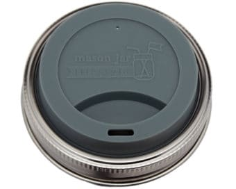 Charcoal gray silicone drinking / sipping lid with stainless steel band for wide mouth Mason jars