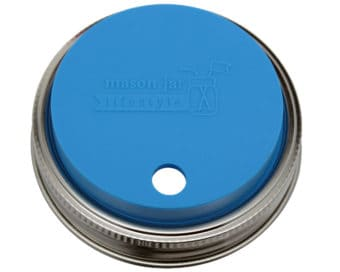 Bright blue silicone fermentation and straw hole lid with stainless steel band for wide mouth Mason jars
