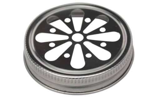 Stainless steel daisy flower cut lid for wide mouth Mason jars