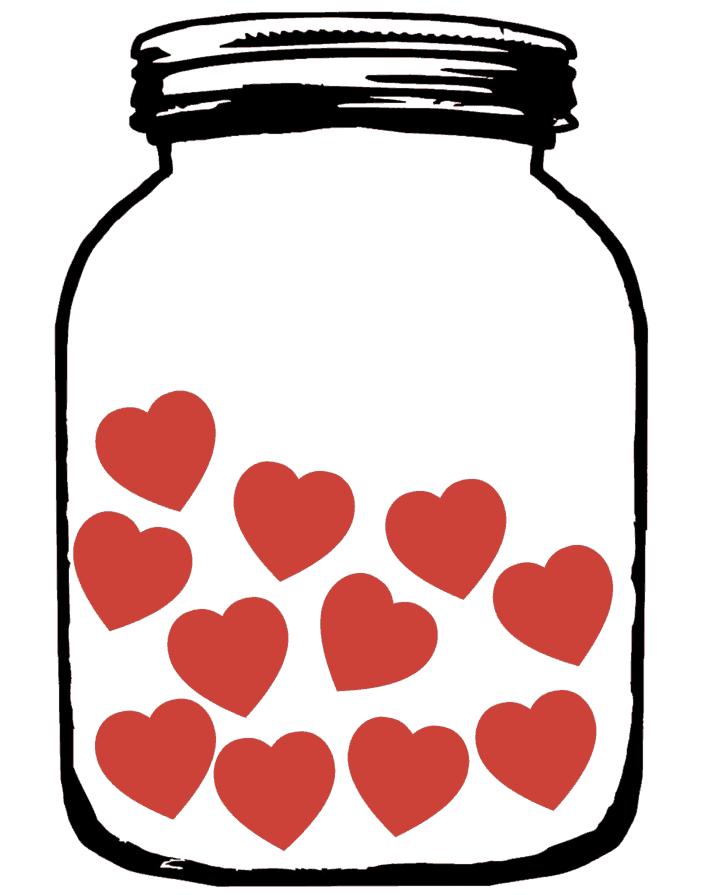 MASON JAR OF HEARTS