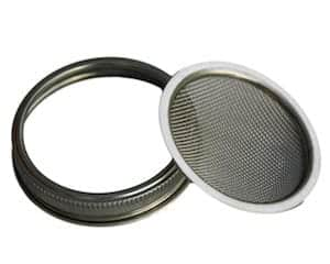 Stainless steel sprouting lid and band for wide mouth Mason jars