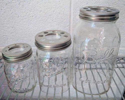 Open / cut bottom Ball Mason jars with lighting lids - pint, quart, and half gallon