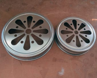 Stainless steel daisy cut lids for regular and wide mouth Mason jars
