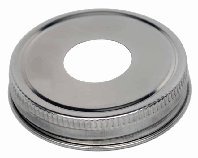 Stainless steel soap pump lid adapter for regular mouth Mason jars