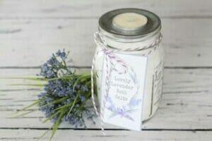 Lovely Lavender Bath Salts in Jar With Tea Light Lid