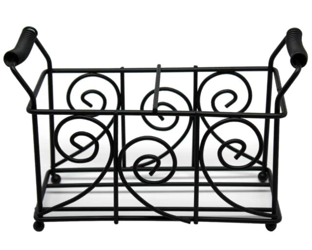 Swirl pattern black metal caddy for two pint Mason jars with wire handles