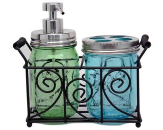 two-pint-mason-jar-bathroom-caddy-black-metal-swirl-wire-handles-mirror-chrome-soap-pump-toothbrush-lid