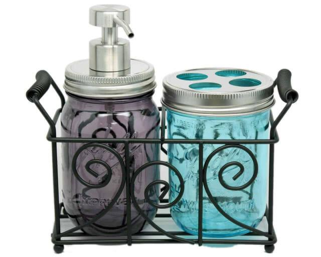 two-pint-mason-jar-bathroom-caddy-black-metal-swirl-wire-handles-satin-brushed-soap-pump-toothbrush-lid