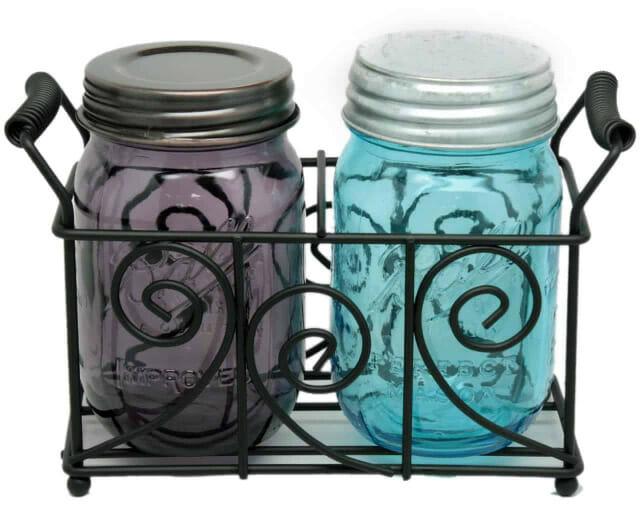 two-pint-mason-jar-decorative-caddy-black-metal-swirl-wire-handles-galvanized-oil-rubbed-bronze-lids-blue-purple-ball