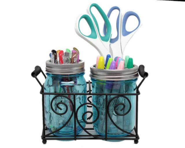 two-pint-mason-jar-desk-caddy-black-metal-swirl-wire-handles-pens-markers-scissors-blue-ball
