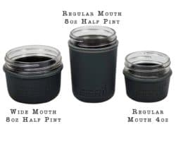 charcoal-gray-silicone-sleeve-koozie-4oz-8oz-half-pint-regular-wide-mouth-mason-jars-white