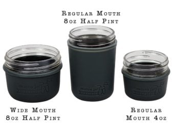 charcoal-gray-silicone-sleeve-koozie-4oz-8oz-half-pint-regular-wide-mouth-mason-jars-white