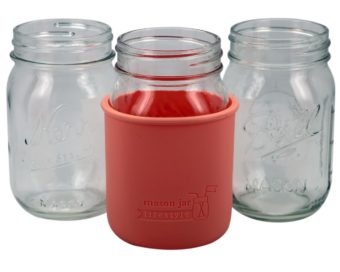 light-coral-silicone-sleeve-koozie-regular-mouth-pint-mason-jar-16oz-ball-kerr-white