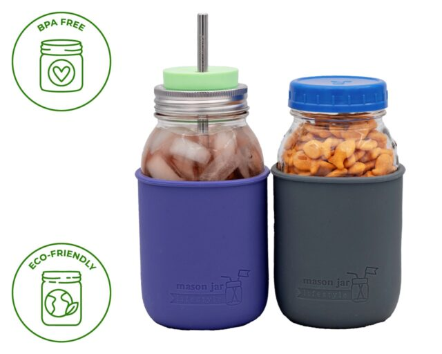 Quart 32 oz Ball and Kerr regular and wide mouth Mason jars with silicone sleeve / jackets which are BPA free and eco-friendly.