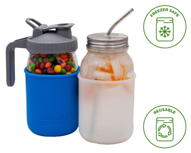 Quart 32 oz Ball and Kerr regular and wide mouth Mason jars with silicone sleeve / jacket which are freezer safe and reusable.
