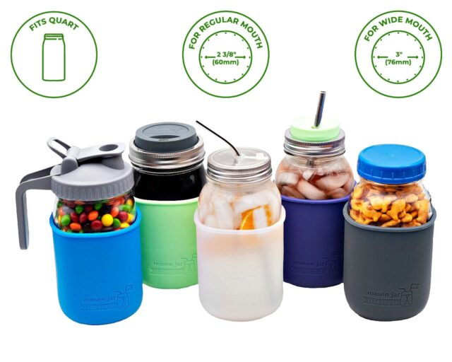 Quart 32 oz Ball and Kerr regular and wide mouth Mason jars with silicone sleeve / jacket in blue, mint green, frost clear, purple, and gray.