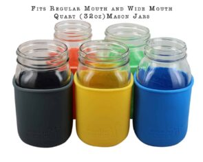 Silicone sleeves for regular or wide mouth quart 32oz Mason jars in five colors