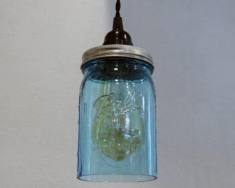 Ball blue wide mouth quart Mason jar pendant light full kit with hand cut jar, lid, on/off switch, and wall plug - bulb off