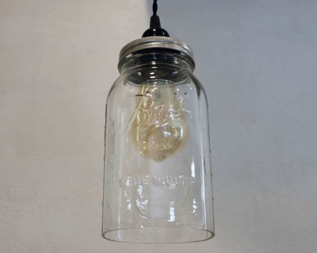 Ball half gallon Mason jar pendant light full kit with hand cut jar, lid, on/off switch, and wall plug - bulb off