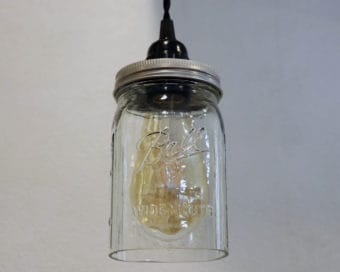 Ball wide mouth quart Mason jar pendant light full kit with hand cut jar, lid, on/off switch, and wall plug - bulb off