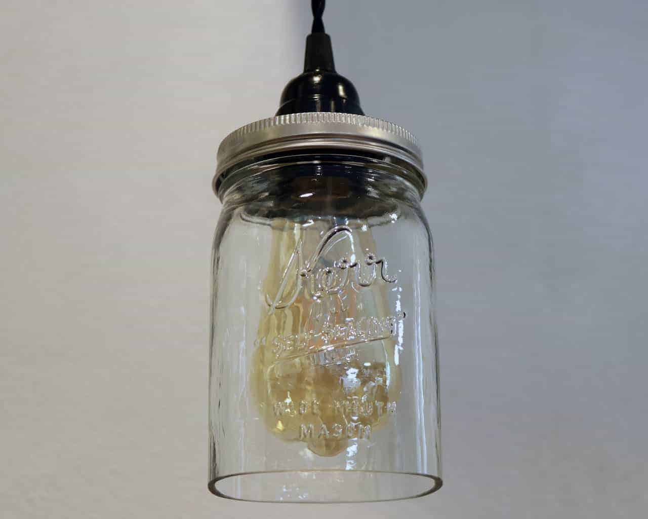 Mason Jar Pendant Light Complete Kit With Hand Cut Jar And