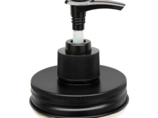 Black soap pump lid kit for regular mouth Mason jars. Aluminum lid and plastic pump - will not rust.