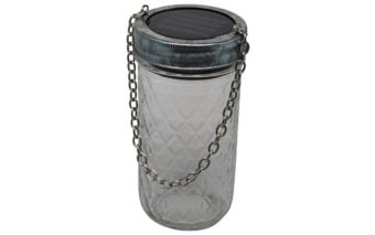 Galvanized metal band / ring with chain and solar light on 12oz quilted Ball Mason jar