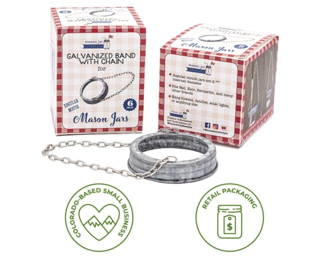 Galvanized Metal Band with Chain for Regular Mouth Mason Jars
