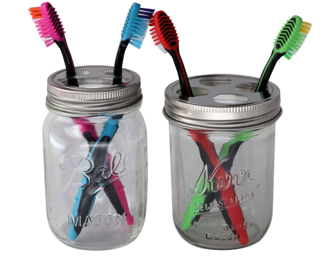 Removable lid has 3 compartments for brushes and tongue cleaners White toothbrush holder works with any bathroom decor Store your toothbrushes and dental tools in style with the Frosted Toothbrush Holder from Room Essentials™.