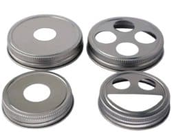 Stainless steel rust proof soap and toothbrush lids for regular and wide mouth Mason jars