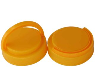 Yellow plastic handle lid for regular mouth Mason jars