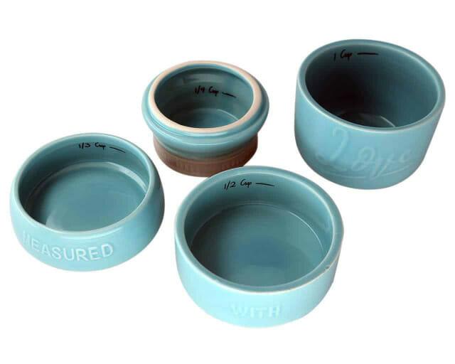 Blue ceramic Mason jar measuring cups separated