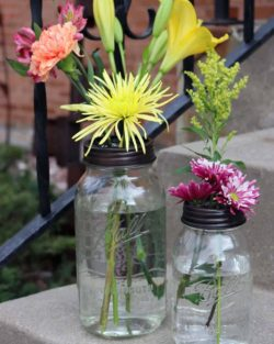Oil rubbed bronze / antique copper frog / flower organizer lids with chicken wire for regular and wide mouth Mason jars with flowers