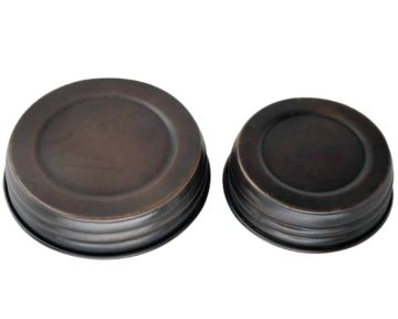 Oil rubbed bronze antique copper decorative lids for regular and wide mouth Mason jars