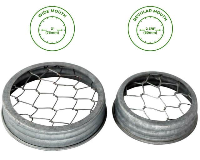 Galvanized metal chicken wire frog flower organizer lids for regular and wide mouth Mason jars
