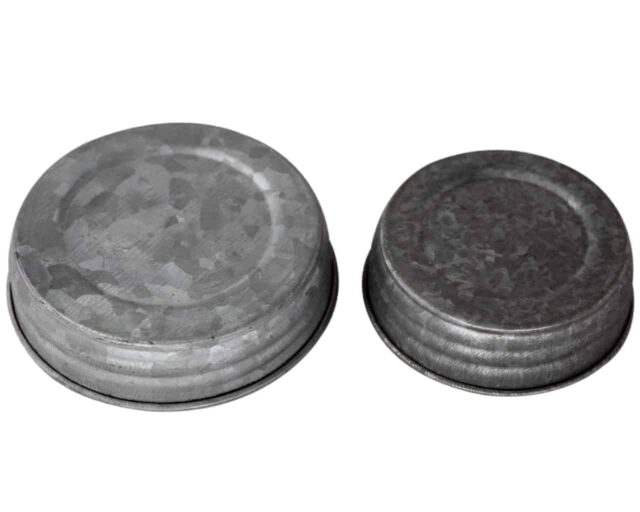 Galvanized metal antique reproduction lids for regular and wide mouth Mason jars