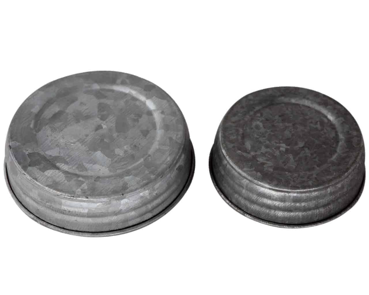 Galvanized Vintage Reproduction Mason Jar Lids 4 Pack