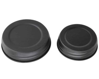Matte black decorative lids for regular and wide mouth Mason jars
