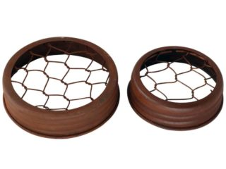 Antique rust brown frog flower organizer lids for regular and wide mouth Mason jars