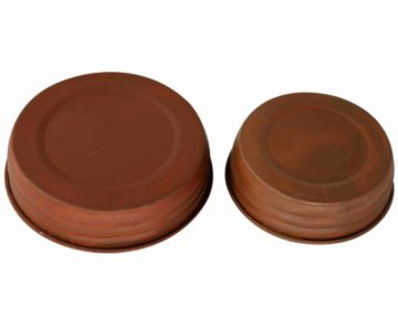 Antique rust brown decorative lids for regular and wide mouth Mason jars