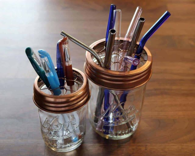 Shiny copper frog / flower / desk / straw organizer lids for regular and wide mouth Mason jars with pens and reusable straws